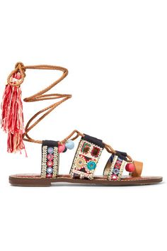 Sam Edelamn Embroidered Canvas and Leather Sandals <3
