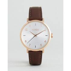 Nixon Arrow Rose Gold & Brown Leather Watch A1091-2369 (168 CAD) ❤ liked on Polyvore featuring jewelry, watches, brown, leather strap watches, leather crown, nixon watches, water resistant watches and brown leather watches