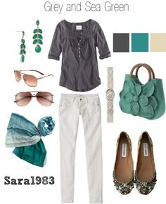 Grey and Sea Green, created by saraemersonhb on Polyvore. Like the colors but not the pants.