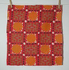 vintage 1950s Celtic motif cotton barkcloth fabric piece
