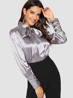 To find out about the Tie Neck Satin Blouse at SHEIN, part of our latest Blouses ready to shop online today! Tie Neck Blouse, Blouse And Skirt, Blouse Outfit, Grey Fashion, Fashion Tips, Fashion Ideas, Office Fashion, Ladies Fashion, Style Fashion
