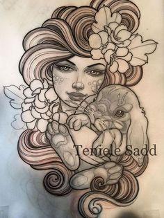 Эскиз татуировки девушки с кроликом