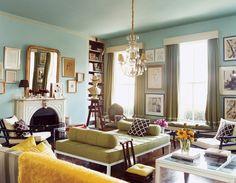 "living room paint colors Paint color (walls): ""Burolux interior"" by Fine Paints of Europe Paint color (trim): ""Feather down"" by Benjamin Moore   Paint color (bookcase): ""Rockies brown"" by Benjamin Moore"