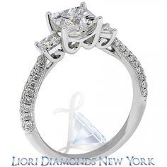 2.50 Carat F-VS1 Three Stone Princess Cut Diamond Engagement Ring 18K White Gold - Side-stone Engagement Rings - Engagement - Lioridiamonds.com