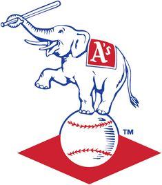 Kansas City Athletics Primary Logo - Elephant with bat balanced on baseball with red diamond Athletics Logo, Oakland Athletics, Sports Team Logos, Sports Art, Kansas City Missouri, Kansas City Royals, Old Baseball Cards, Baseball Stuff, Sports Wallpapers