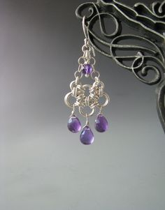 Japanese Chain Maille Earrings with Amethyst by WolfstoneJewelry