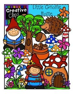 This 27-piece set is packed with little gnomes and forest favorites! Included are 17 vibrant, colored images and 10 black and white version (not shown in the preview). $