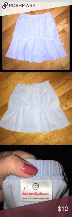 Hannah Anderson blue velour skater skirt size 6/7 Excellent Used Condition. Baby blue Velour skating skirt. Size 120 is equivalent to a size 6/7. elastic waist. Hanna Andersson Bottoms Skirts