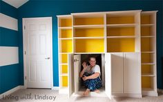 "Create your own ""built in"" with a set of Ikea Billy bookcases.  Mine even hides our attic door!  MakelyHome.com"