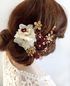 burgundy hair piece, burgundy hair flower, burgundy hair clip, ivory hair flower, bridal hair piece, wedding hair piece, gold wedding by thehoneycomb on Etsy https://www.etsy.com/listing/487058509/burgundy-hair-piece-burgundy-hair-flower