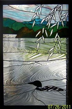 Stained Glass scene of New Hampshire lake with Loon by Rose Ferry from Stained Glass Shack www.stainedglassshack.com