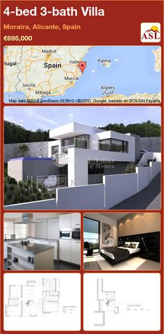 Villa for Sale in Moraira, Alicante, Spain with 4 bedrooms, 3 bathrooms - A Spanish Life Moraira, Alicante Spain, Double Bedroom, Open Plan Living, Seville, Private Pool, Malaga, Dining Area, Terrace