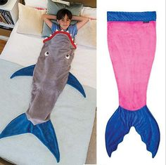 You kids will LOVE this Mermaid tail blanket or Shark tail blanket. Great gift idea! Each sold separately. Recommended for children 5 - 12 years old. Mermaid Tail: Pink/Blue, Purple/Green, Blue/Turquoise or Boys Shark Tail. Please select during checkout. Shipping: FREE SHIPPING TO THE UNITED STATES AND INTERNATIONAL DESTINATIONS.  Please allow up to 3 weeks for item to arrive when using free shipping once the item has shipped. If you would like to receive your item faster, please select…