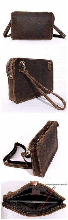 VINTAGE HANDMADE BUFFALO LEATHER SATCHEL, IPAD BAG, TABLET BAG/CASE, CROSSBODY MESSENGER BAG
