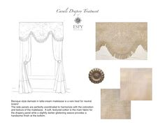 Cavali Damask Drapery Treatments for 2 Windows.  Customizable draperies. We have made the tops. The side panels can be made to your specified length with a variety of materials. DesignNashville.com