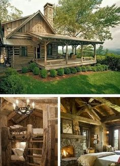 rustic cabin pictures rustic log cabin living just the cabin porch seen rustic cabin kitchen designs Log Cabin Living, Log Cabin Homes, Log Cabins, Mountain Cabins, Cottage Living, Living Room, Small Log Cabin, Log Cabin Kits, Mountain Cottage