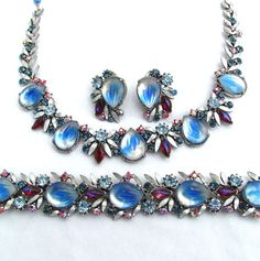 Vintage FLORENZA Demi Parure Earrings Necklace Bracelet Art Glass Rhinestone Set