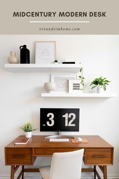 This is a great mid-century modern desk option to furnish your home office! Midcentury modern desk ideas from West Elm gives a pop of warm wood to a neutral office workspace. #midcenturymoderndesk Modern Office Decor, Home Office Design, Home Office Decor, Office Ideas, Desk Ideas, Home Decor, Room Ideas, West Elm Mid Century, Mid Century Modern Desk