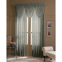 Colormate Claire Semi Sheer Textured Beaded Valance-36in x 20in - For the Home - Window Coverings & Hardware - Valances & Scarves