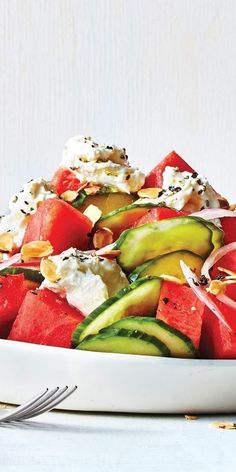 Watermelon, Cucumber, and Burrata Salad: This bright summer salad is SO refreshing. | Health.com
