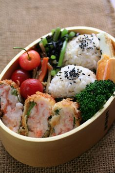 breaded and deep-fried prawn bento box lunch.