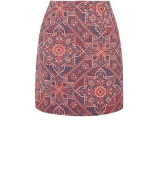 Red Abstract Jacquard Woven A-Line Skirt