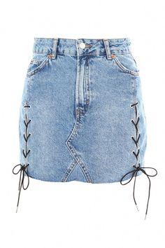 Topshop Moto Lace Up Denim Skirt Long Denim Skirt Outfit, White Denim Skirt, Lace Up Skirt, Blue Denim Skirt, Button Front Denim Skirt, Diy Vetement, Topshop Skirts, Jeans Rock, Maxi Skirts