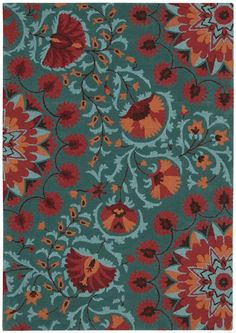 Nourison Industries - Area Rug Collections - Suzani orange aqua teal turquoise - Decoration for House