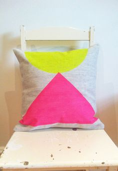 Egyptian Neon - Cover only - Wildly comfortably throw cushion in neon pink and yellow, for your home.. $29.00, via Etsy.