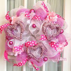 Hot Pink Valentine Deco Mesh Wreath