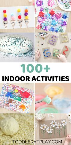 If you're looking for fun, easy-to-prep activities and crafts for kids, this list of 100 Indoor Activities is the perfect idea list for you! It's full of simple, low cost ways to keep your kids busy and happy indoors. Winter Crafts For Kids, Summer Crafts, Fall Crafts, Winter Fun, Easter Crafts, Indoor Activities For Toddlers, Spring Activities, Cycle For Kids, Creative Play