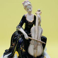 Lady With Cello Ceramic Statue, Art Figurine Female sculpture Home Decoration Cello, Snow White, Sculpture, Ceramics, Statue, Female, Disney Princess, Decoration, Lady