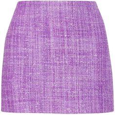 Alice + Olivia Gianna tweed mini skirt ($125) ❤ liked on Polyvore featuring skirts, mini skirts, bottoms, saias, purple, alice + olivia, zipper skirt, mini skirt, tweed mini skirt and zipper mini skirt