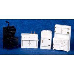 AZTEC MINIATURES - 1 Inch Scale Dollhouse Miniature Furniture - Old Fashioned Kitchen Set 4 pcs (AZT5543)