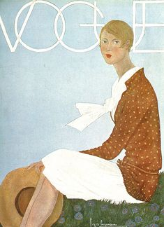 Vintage Vogue cover by Georges Lepape, June 1929