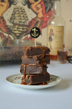 Tattooed Martha - Boozy Brownies with Salted Caramel Rum Sauce