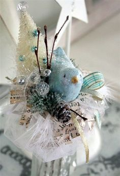 bird bottle brush tree ~ I was confused at first. NOW I see that it is a bird WITH a tree.the entire object is an ornament! Merry Christmas, Shabby Chic Christmas, Blue Christmas, All Things Christmas, Vintage Christmas, Christmas Holidays, Christmas Decorations, Christmas Ornaments, Shabby Chic Ornaments
