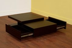Living Room Furniture :: Coffee Tables :: Wenge Color Oak Veneer Coffee Table with Two Drawers - Bachelor Furniture: Bar Furniture, Dorm Furniture, Apartment Furniture