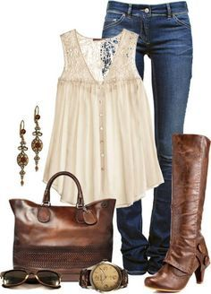Jeans, flowy top, brown boots
