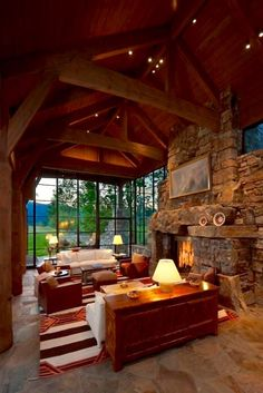 A lot of glass, rock, and rustic framing on this beautiful rustic cabin within the Bit. A lot of glass, rock, and rustic framing on this beautiful rustic cabin within the Bitterroot Valley of Montana Chalet Interior, Interior Design, Interior Ideas, Room Interior, Montana Ranch, Ranches For Sale, Log Cabin Homes, Log Cabins, Barn Homes