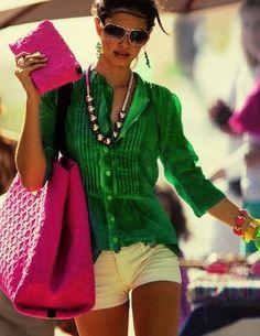 White shorts, 3/4 sleeve emerald green shirt, hot pink accessories