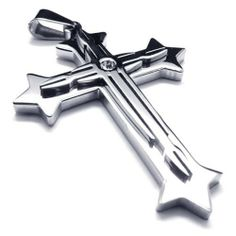 """22"""" KONOV Jewelry Stainless Steel Cross Necklace Pendant - Silver, 18"""",20"""",22"""",24"""" 26"""" OR 28"""" Chain - 22 inch KONOV Jewelry. $8.99. Color: Silver; Material: Stainless Steel. Chain Length: """"(0cm) Width: 3mm. Pendant arrives with one quality stainless steel chain.. Pendant Height: 2.44""""(6.2cm) Width: 1.54""""(3.9cm). Save 75% Off!"""