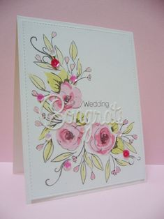 Wedding card using Altenew Painted flowers, congrats from Penny Black Hooray die set Scrapbooking, Scrapbook Cards, Card Making Inspiration, Making Ideas, Homemade Wedding Cards, Altenew Cards, Paint Cards, Wedding Anniversary Cards, Beautiful Handmade Cards