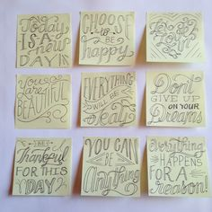 Post-it inspiration & RAKs....plus cool hand lettering