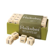 Create captivating haiku with a roll of the dice!   Features more than sixty 6-sided dice pre-loaded with poetic language in a handsome set that makes an intera