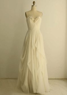 Pleated Sweetheart Organza Soft Silk Column Wedding Dress