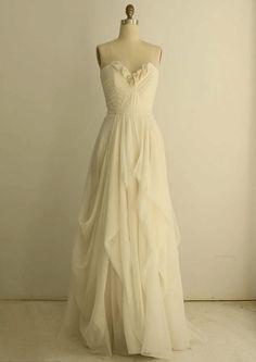 Pleated Sweetheart Organza Soft Silk Column Wedding Dress