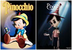 Illustrator Andrew Tarusov redesigns  Disney's Pinocchio into Tim Burton's dark gothic style