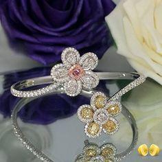 Novel Collection. Fancy color diamond bangle. #fancycolordiamonds #rare…