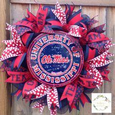 02e6faccd386 Ole Miss Rebels Wreath. Ole Miss Wreath. University of Mississippi Wreath. Ole  Miss. Any Sport Wreath. Football Wreath. Sports Decor